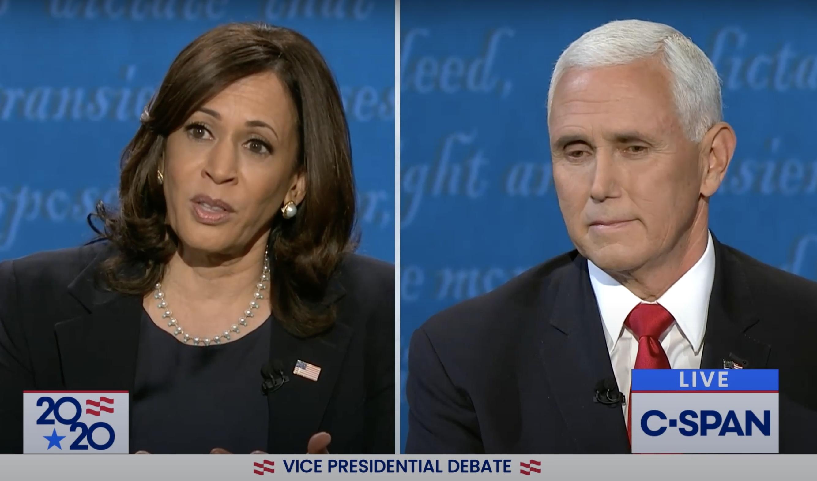 Sen. Kamala Harris, left, and incumbent Vice President Mike Pence during Vice Presidential Debate, Oct. 7.